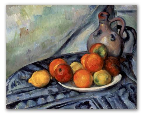 """Cuadro """"Fruta y jarra en una mesa"""""""