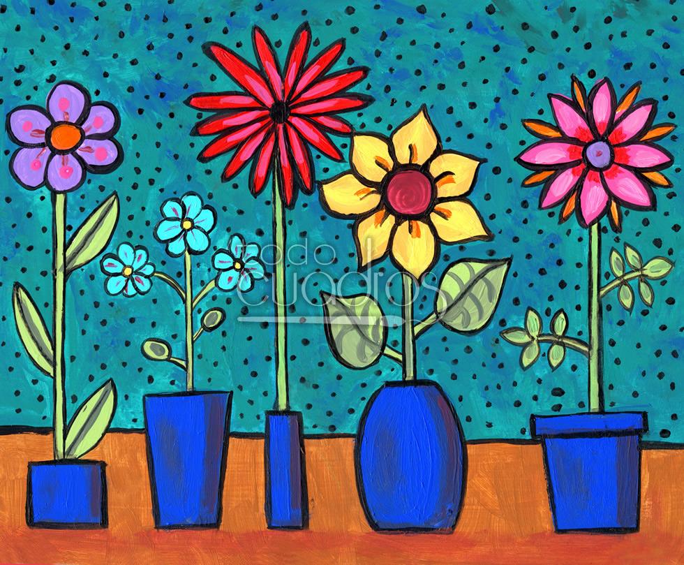 Cuadro Florecillas Pintura Para Decoracion Infantil