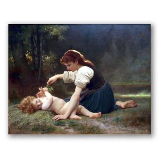 Entorno Natural, la Joven y un Niño