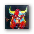 "Obra al óleo ""El toro de frente"""
